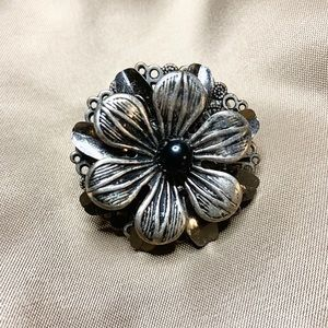Hand Crafted Jewelry - Metal Mix Silver & Black Flower Statement Ring